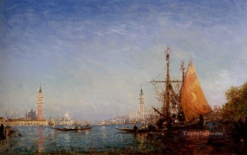 Boat Painting - The Grand Conal Venice boat Barbizon Felix Ziem seascape