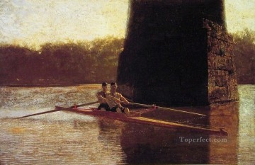 photorealism realism Painting - The PairOared Shell Realism boat Thomas Eakins