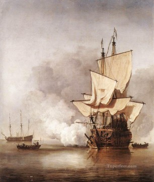 The cannon Shot marine Willem van de Velde the Younger boat seascape Oil Paintings