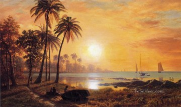 Boat Painting - Tropical Landscape with Fishing Boats in Bay luminism landsacpes Albert Bierstadt