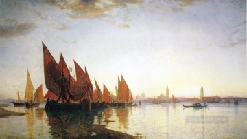 Boat Painting - Venice seascape boat William Stanley Haseltine