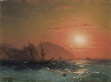 Boat Painting - View Of The Ayu Dag Crimea seascape boat Ivan Aivazovsky