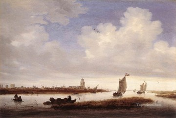 Boat Painting - View of Deventer Seen from the North West boat seascape Salomon van Ruysdael