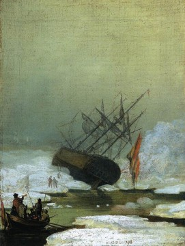 Boat Painting - Wreck By The Sea Romantic boat Caspar David Friedrich