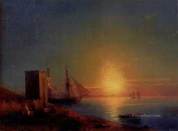 Boat Painting - Aivazoffski Ivan Konstantinovich Figures In A Coastal Landscape At Sunset seascape boat Ivan Aivazovsky