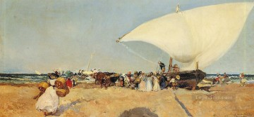 Boat Painting - Arrival of the Boats Joaquin Sorolla