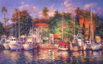 Lahaina Afternoon yacht Oil Paintings