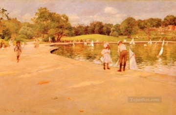 Boat Painting - Lilliputian BoatLake impressionism William Merritt Chase