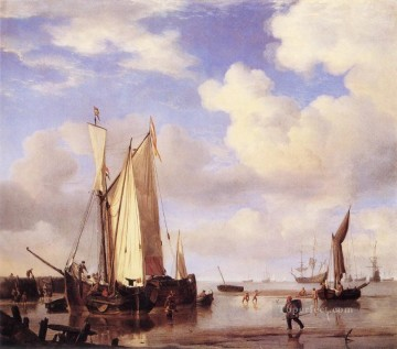 Low Tide marine Willem van de Velde the Younger boat seascape Oil Paintings