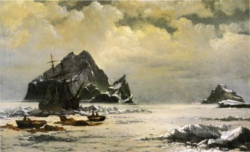 Bradford Canvas - Morning on the Artic Ice Fields boat seascape William Bradford