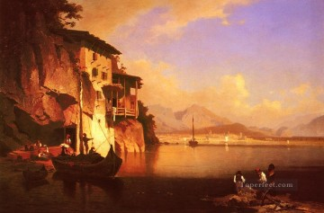 Unterberger Deco Art - Motio Du Lac Du Garda scenery Franz Richard Unterberger boat