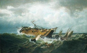 Bradford Canvas - Shipwreck Off Nantucket boat seascape William Bradford