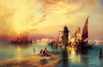 seascape mediterranean sea venice boat ship waterscape Painting - Venice boats Thomas Moran
