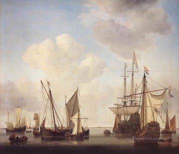 battleship warship war ship Painting - Warships At Amsterdam marine Willem van de Velde the Younger boat seascape