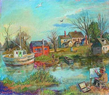 a painter river bank landscape Oil Paintings