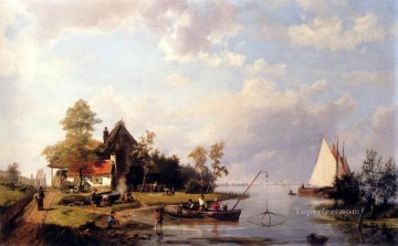 landscape Painting - A River Landscape With A Ferry And Figures Mending A Boat Hermanus Snr Koekkoek seascape boat