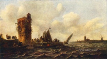 Boat Painting - A View on the Maas near Dordrecht boat seascape Jan van Goyen
