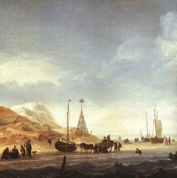 Beach marine Willem van de Velde the Younger boat seascape Oil Paintings