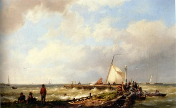 Bringing in the Catch Hermanus Snr Koekkoek seascape boat Oil Paintings