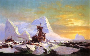 Boat Painting - Crushed in the Ice boat seascape William Bradford