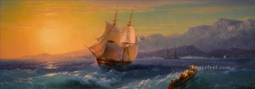 Landscapes Painting - IVAN KONSTANTINOVICH AIVAZOVSKY Ship at Sunset off Cap Martin sailing ocean
