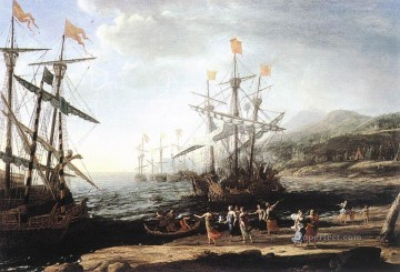 Boat Painting - Marine with the Trojans Burning their Boats landscape Claude Lorrain