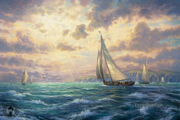 Landscapes Painting - New Horizons Thomas Kinkade sailing ship