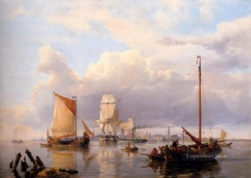 Boat Painting - Shipping On The Scheldt With Antwerp In The Background Hermanus Snr Koekkoek seascape boat