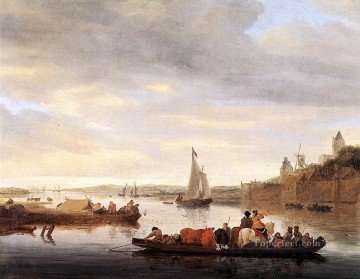 cross - The Crossing at Nimwegen boat seascape Salomon van Ruysdael