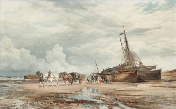 Boat Painting - Unloading the boats 2 Samuel Bough landscape