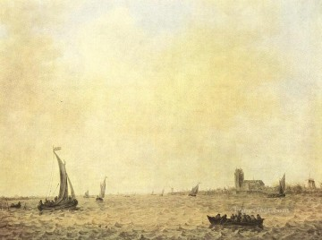 View of Dordrecht from the Oude Maas boat seascape Jan van Goyen Oil Paintings