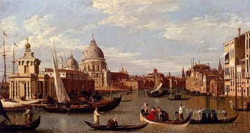 Della Painting - Canal Giovanni Antonio View Of The Grand Canal And Santa Maria Della Salute With Boats And Figure Venetian Venice Canaletto