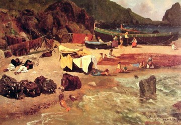 Fishing Boats at Capri luminism landsacpes Albert Bierstadt Oil Paintings