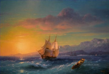 IVAN KONSTANTINOVICH AIVAZOVSKY Ship at Sunset off Cap Martin sailing Oil Paintings