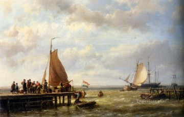 Boat Painting - Provisioning a Tall Ship at Anchor Hermanus Snr Koekkoek seascape boat