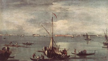 Boat Painting - The Lagoon with Boats Gondolas and Rafts Venetian School Francesco Guardi