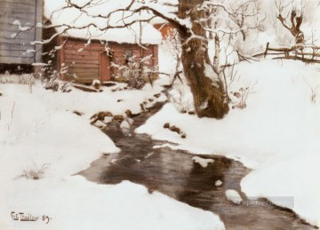 Winter On The Isle Of Stord impressionism Norwegian landscape Frits Thaulow river Oil Paintings