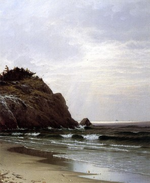 A Cloudy Day modern beachside Alfred Thompson Bricher Landscapes river Oil Paintings