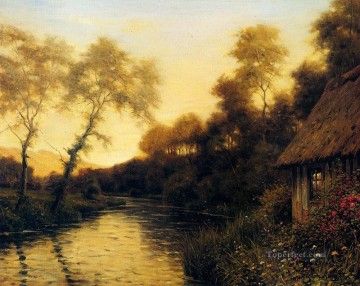 landscape Painting - A French River Landscape At Sunset landscape Louis Aston Knight