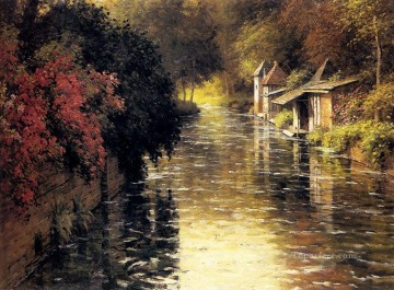 landscape Painting - A French River Landscape landscape Louis Aston Knight