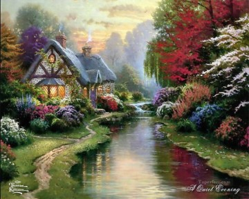 Brook River Stream Painting - A Quiet Evening Thomas Kinkade Landscapes river