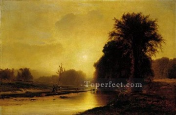 Inness Deco Art - Autumn Meadows landscape Tonalist George Inness river