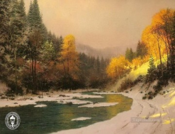 Autumn Snow Thomas Kinkade Landscapes river Oil Paintings