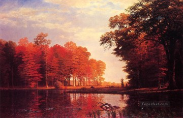 Autumn Woods Albert Bierstadt Landscapes river Oil Paintings