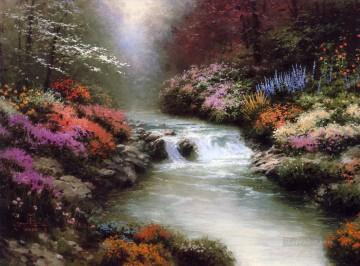 Brook River Stream Painting - Beside Still Waters Thomas Kinkade Landscapes river
