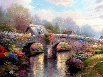 Blossom Bridge Thomas Kinkade Landscapes river Oil Paintings