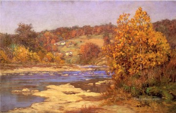 Blue and Gold landscape John Ottis Adams river Oil Paintings