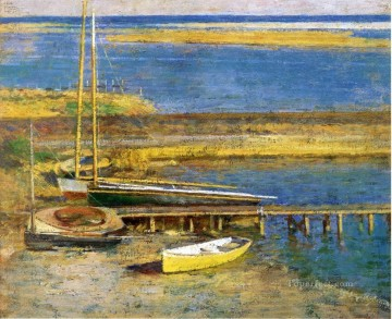 Boats at a Landing impressionism boat Theodore Robinson Landscapes river Oil Paintings