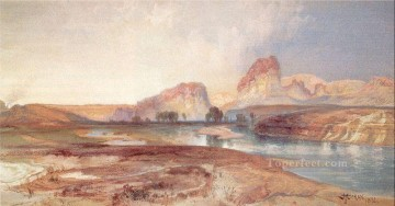 mountains Canvas - Cliffs Green River Wyoming landscape Rocky Mountains School Thomas Moran