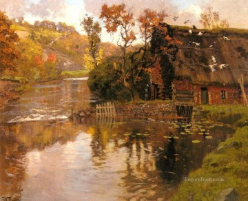 stream Painting - Cottage By A Stream impressionism Norwegian landscape Frits Thaulow